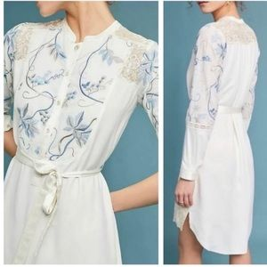 Anthro Tiny Amarante Floral Embroidered Shirtdress
